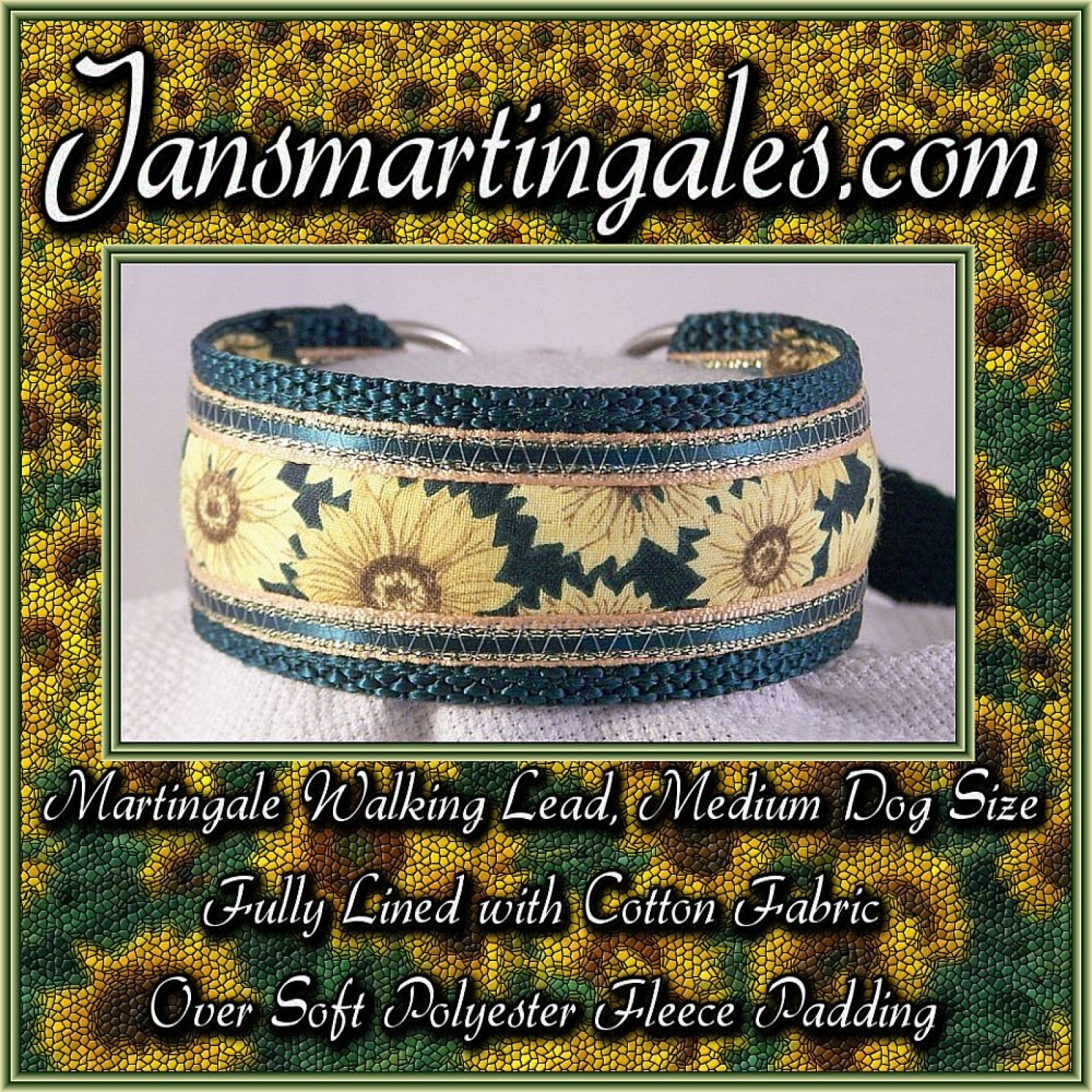 Jansmartingales Dark Green Martingale Walking Lead Dog Collar And
