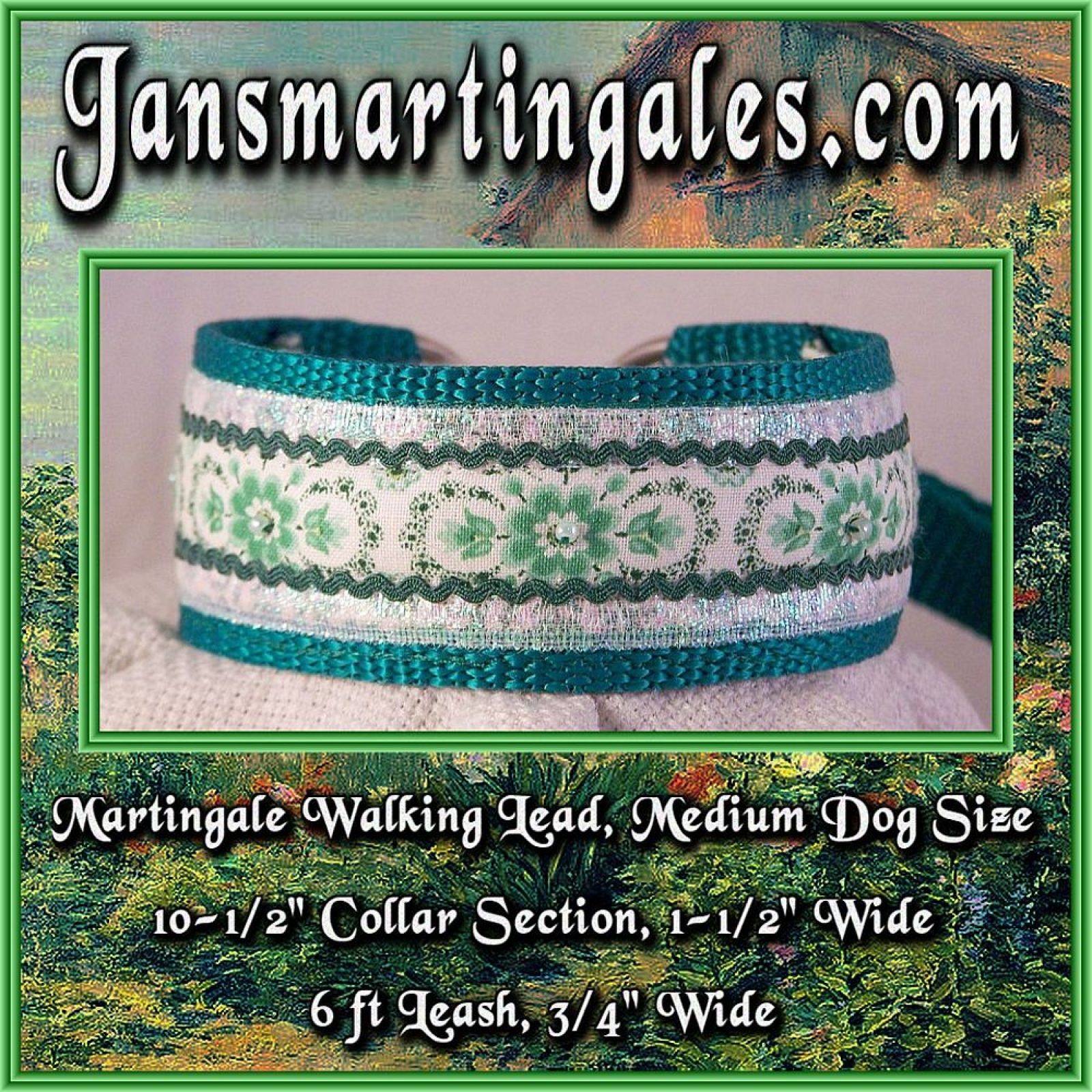 Jansmartingales Green Walking Lead Dog Collar And Leash